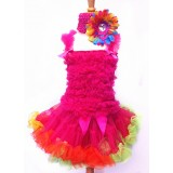 AM12003-FUCHSIA RAINBOW RUFFLE DRESS SET