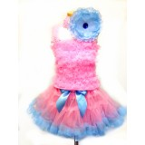 AM12006-PINK BLUE RUFFLE DRESS UP SET