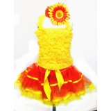 AM12008-SUNNY ORANGE RUFFLE DRESS UP SET