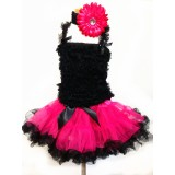 AM12009-FUCHSIA BLACK RUFFLE DRESS SET