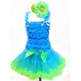 AM12010-BLUE GREEN RUFFLE DRESS SET