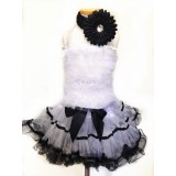 AM12011-BLACK WHITE RUFFLE DRESS SET