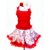 AM13004-XMAS CANDY CANE RUFFLE DRESS SET