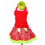 AM13005-POLKA DOT XMAS RUFFLE DRESS SET