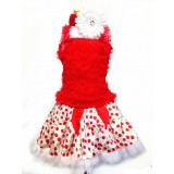 AM13006-RED CHERRY RUFFLE DRESS SET