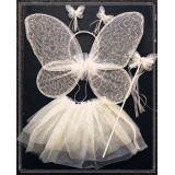 CTU1909-WT WHITE GLITTER TUTU DRESS UP SET