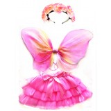 CTU2000-SHEAR PINK ROSE FAIRY DRESS UP SET