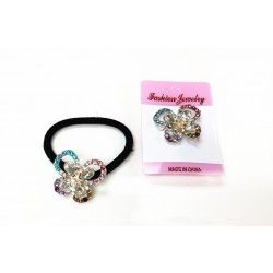 HA4068-MULTI COLOR RHINESTONE BUTTERFLY PONY HOLDER