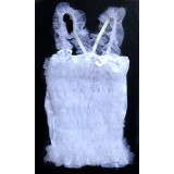 CTP322WT--WHITE SOFT TULLE STRETCH TOP