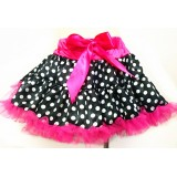 OD2018BK-- Satin  Black  White Polka Dot Tutu