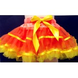 OD2022ORYL--ORANGE PETTI SKIRT YELLOW RUFFLE