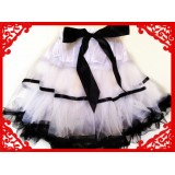 OD2022WTBK--WHITE PETTI SKIRT BLACK RUFFLE