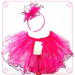 OD2073-RAINBOW GLITTER  FUCHSIA TUTU WITH HEADBAND SET