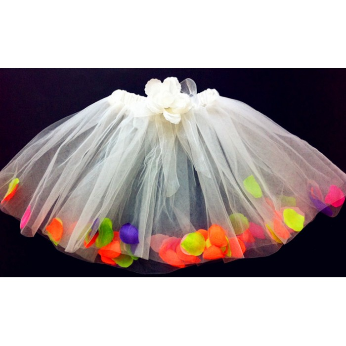 Od289 1wt white tutu rainbow flower petal for Rainbow petals