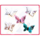 "B096033-4"" FEATHER JEWELED BUTTERFLY CLIP"
