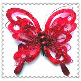 "B525-10"" XMAS RED BUTTERFLY CLIP"