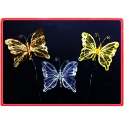 "RS130G-4"" SHEER XMAS BUTTERFLY ON WIRE"