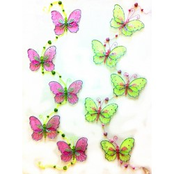 BS29034-TWO TONE SHEER BUTTERFLY HANGING DECOR