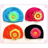 HT51128-3-TWO TONE FLOWER BEANIE