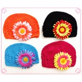 HT51128-4 TWO TONE FLOWER BEANIE