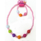 NK044-Colorful Kids Necklace and Bracelet Set