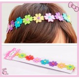 CTH130-RAINBOW COTTON FLOWER STRETCHY HEADBAND