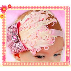 HA4032-PINK FEATHER BABY HEAD WRAP
