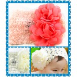 HA4037-BABY WIDE ROSE LACE HEAD WRAP